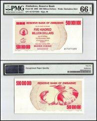 Zimbabwe 500 Million Dollars Bearer Cheque, 2008, P-60, PMG 66