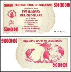 Zimbabwe 500 Million Dollars Bearer Cheque, 2008, P-60, UNC, Replacement