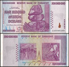 Zimbabwe 500 Million Dollars, 2008, P-82, Used, Replacement Low Serial #