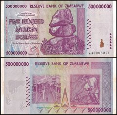 Zimbabwe 500 Million Dollars Banknote, 2008, P-82, Used, Replacement