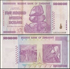 Zimbabwe 500 Million Dollars Banknote, AB/2008, P-82, Used