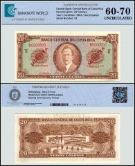 Costa Rica 20 Colones Banknote, 1964 - 1970, P-231s, Series - B, Serial # 01, Specimen UNC, TAP 60 - 70 Authenticated
