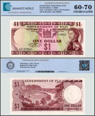 Fiji 1 Dollar Banknote, 1971, P-65a, UNC, TAP 60-70 Authenticated