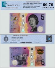 Australia 5 Dollars Banknote, 2016, P-62a, UNC, TAP 60 - 70 Authenticated