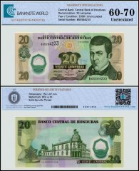Honduras 20 Lempiras Banknote, 2008, P-93b, UNC, TAP 60 - 70 Authenticated