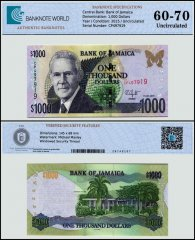 Jamaica 1,000 Dollars Banknote, 2015, P-86k, UNC, TAP 60 - 70 Authenticated