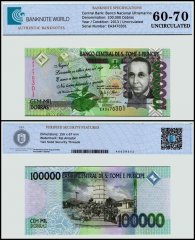 St Thomas and Prince 100,000 Dobras Banknote, 2013, P-69e, UNC, TAP 60 - 70 Authenticated