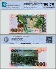 St Thomas and Prince 10,000 Dobras Banknote, 2013, P-66d, UNC, TAP 60 - 70 Authenticated
