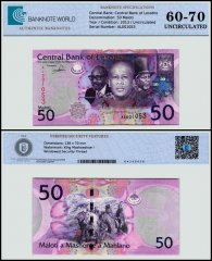 Lesotho 50 Maloti Banknote, 2013, P-23b, UNC, TAP 60 - 70 Authenticated