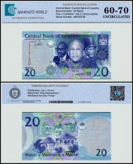 Lesotho 20 Maloti Banknote, 2013, P-22b, UNC, TAP 60 - 70 Authenticated
