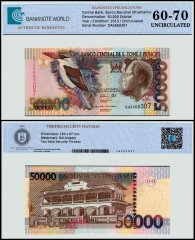 St Thomas and Prince 50,000 Dobras Banknote, 2013, P-68e, UNC, TAP 60 - 70 Authenticated