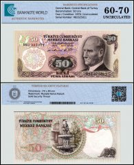 Turkey 50 Lira Banknote, 1976, P-188a, UNC, TAP 60 - 70 Authenticated