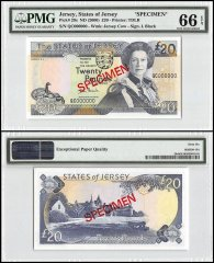 Jersey 20 Pounds, ND 2000, P-29s, QC Series, Queen Elizabeth II, Specimen, PMG 66