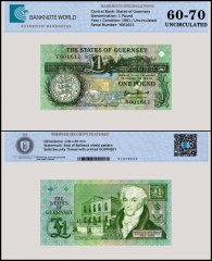 Guernsey 1 Pound Banknote, 1991, P-52a, UNC, TAP 60 - 70 Authenticated