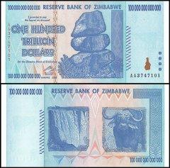 Zimbabwe 100 Trillion Dollars Banknotes Aa 2008 P 91 Unc
