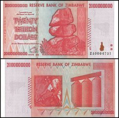 Zimbabwe 20 Trillion Dollars, 2008, P-89, UNC, Replacement