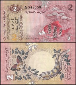 Sri Lanka 2 Rupees, 1979, P-83, UNC, Fish, Butterfly, Dasia Haliana
