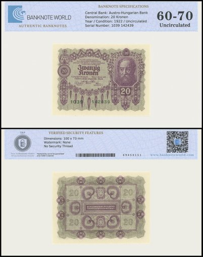 Austria 20 Kronen Banknote, 1922, P-76, UNC, TAP 60 - 70 Authenticated