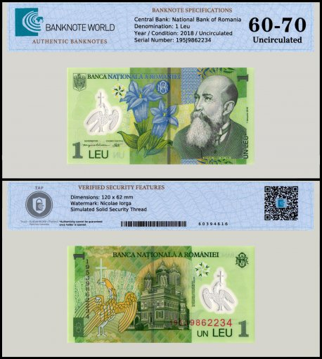 Romania 1 Leu Banknote, 2018 , P-117, UNC, TAP 60 - 70 Authenticated
