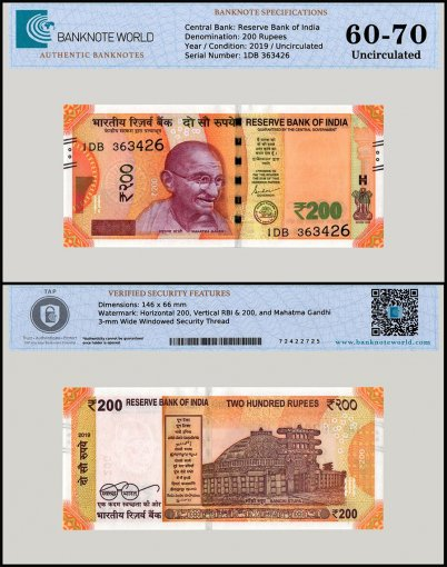 India 200 Rupees Banknote, 2019, P-113c, UNC, TAP 60 - 70 Authenticated