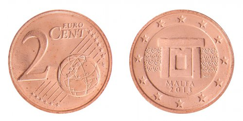 Malta 2 Cent - 2 Euro, 4 Piece Coin Set, 2013, KM # 126 - 132, Mint