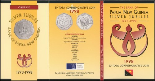 Papua New Guinea 50 Toea 13.63g Copper Nickel Coin, 1998, KM # 41, Eagle, Mint