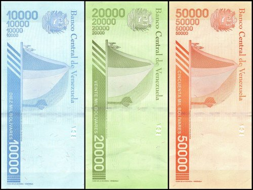 Venezuela 10,000 - 50,000 Bolivares 3 Pieces Set, 2019, P-NEW, UNC
