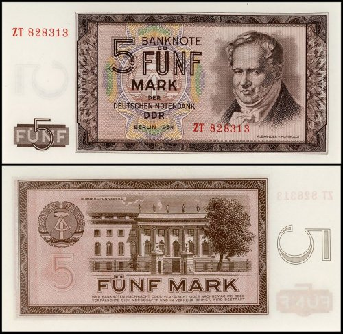 Berlin 5 -100 Mark, 5 Pieces Replacement Banknote Set, 1964, P-22a-26, UNC