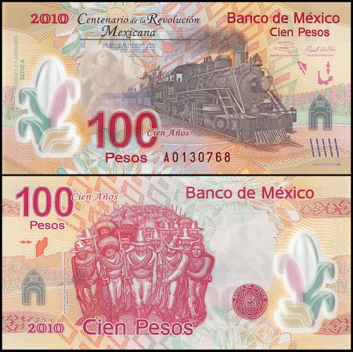 Mexico 100 - 200 Pesos 2 Pieces Set, 2010, P-128-129, Matching Serial #, UNC