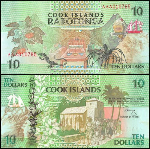 Cook Islands 10 - 50 Dollar 3 Pieces Set, 1992, P-8-10, Stains, UNC