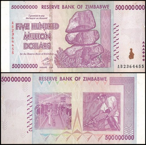 Zimbabwe 500 Million Dollars Banknote, 2008, P-82, USED