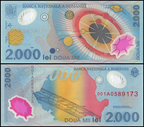 Romania 2,000 Leu Banknote, Lei, 1999, P-111, UNC, With Folder, Polymer