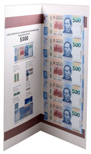 Mexico 500 Pesos, 2017, P-131a, 5 Pieces Uncut Sheet w/ Folder, UNC
