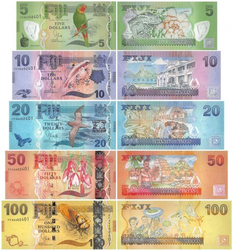 Fiji 5 - 100 Dollars 5 Pieces Set, 2013, P-115a-119a, Matching Serial #, UNC