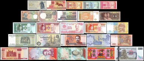 25 Different World Mixed Foreign Banknotes, Uncirculated