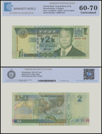 Fiji 2 Dollars Banknote, 2000, P-102a, UNC, TAP 60 - 70 Authenticated