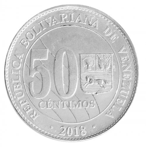Venezuela 50 Centimos 4.3g Nickel Plated Steel Coin, 2018, Mint