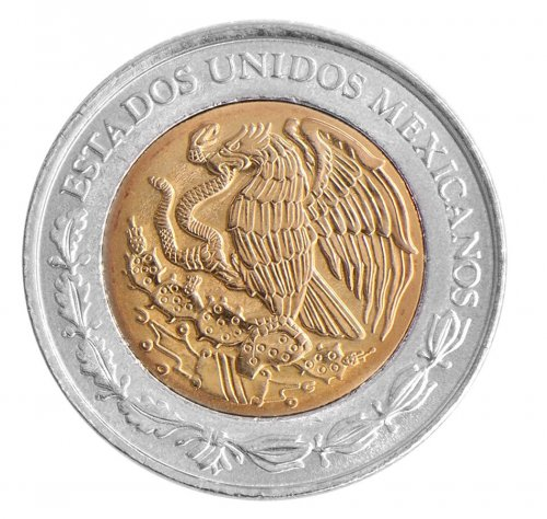 Mexico 1 Peso 3.95g Bi-Metallic Coin, 2008, KM # 603, Mint