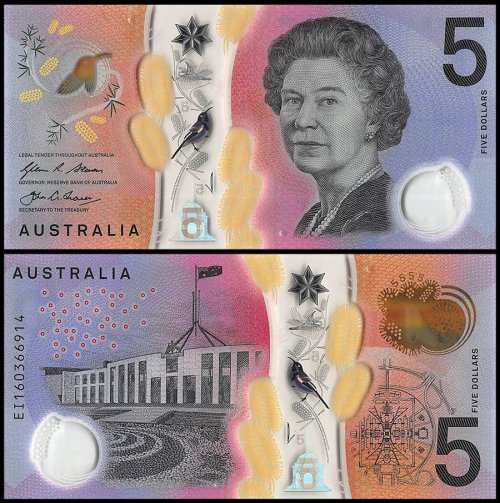 Australia 5 Dollars 2 Pieces Matching Serial # Set , 2016, P-62 UNC