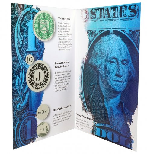 United States of America - USA 1 Dollar, Limited Edition Banknote Folder, 5 Pieces Uncut Sheet, 2013, P-537, UNC
