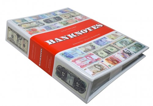 "Banknote - Currency Album, Holds up to 300 Banknotes, 9.65"" L x 11.81"" H x 2.36"" W, Inbound Sleeves Included - Accessories"