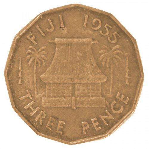 Fiji 3 Pence 6.2 g Nickel Brass Coin, 1955, KM #22, VF - Very Fine