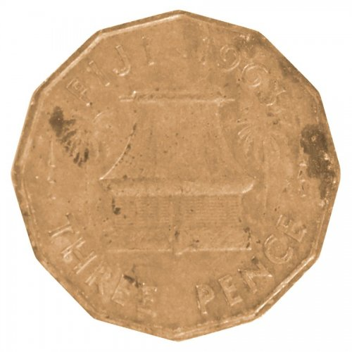 Fiji 3 Pence 6.2 g Nickel Brass Coin, 1963, KM #22, VF - Very Fine