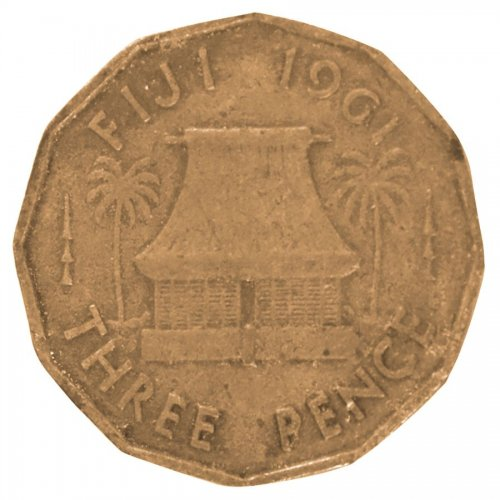 Fiji 3 Pence 6.2 g Nickel Brass Coin, 1961, KM #22, F - Fine