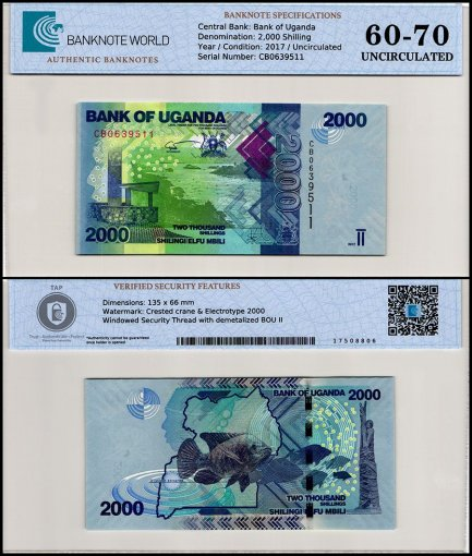 Uganda 2,000 Shillings Banknote, 2017, P-50d, UNC, TAP 60-70 Authenticated