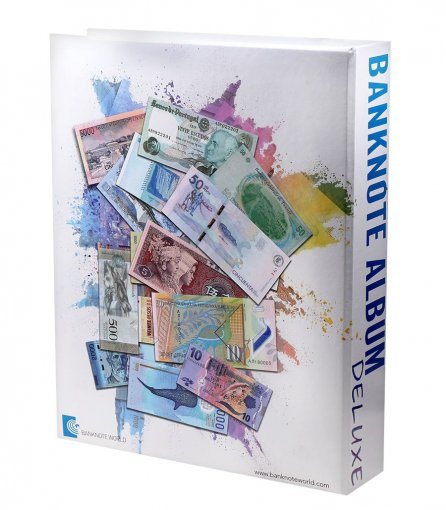 "Banknote World Deluxe Currency Collecting Album with 300 Built in Clear Pockets (Banknotes sold separately), Dimensions:   9.5"" L x 2.5"" W x 12"" H"