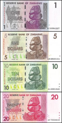 Zimbabwe $1-100 Trillion Series Dollars 27 PCS Full Set, 2007-2008,P-65-91, UNC