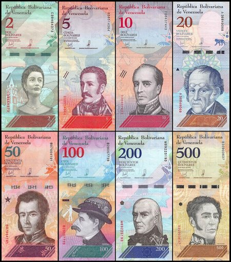Venezuela 2 - 100,000 Bolivar Fuerte & 2 - 500 Soberano 21 Pieces Set, 2007-18, USED