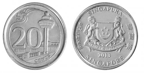 Singapore 5 Cents - 1 Dollar 5 Pieces - PCS, Coin Set, 2013, KMS#2105, Mint