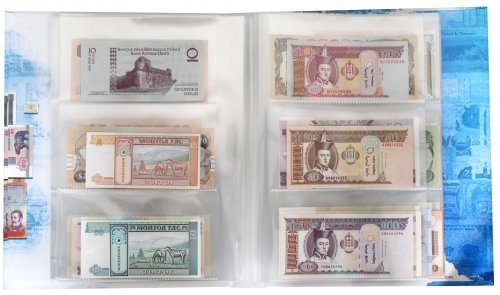 Banknote World Currency Collecting Album w/ 100 Pieces Banknote Set, Blue, Banknotes Included in Sleeves